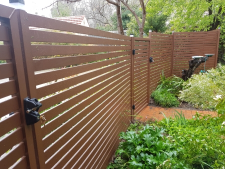 Aluminium garden gate   corten powercoat