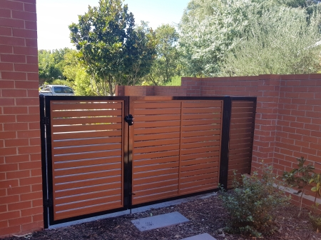 Black framed aluminium gate