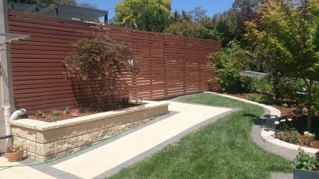Brown aluminium fence and gate