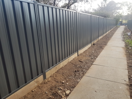 Colorbond with sleeper retaining
