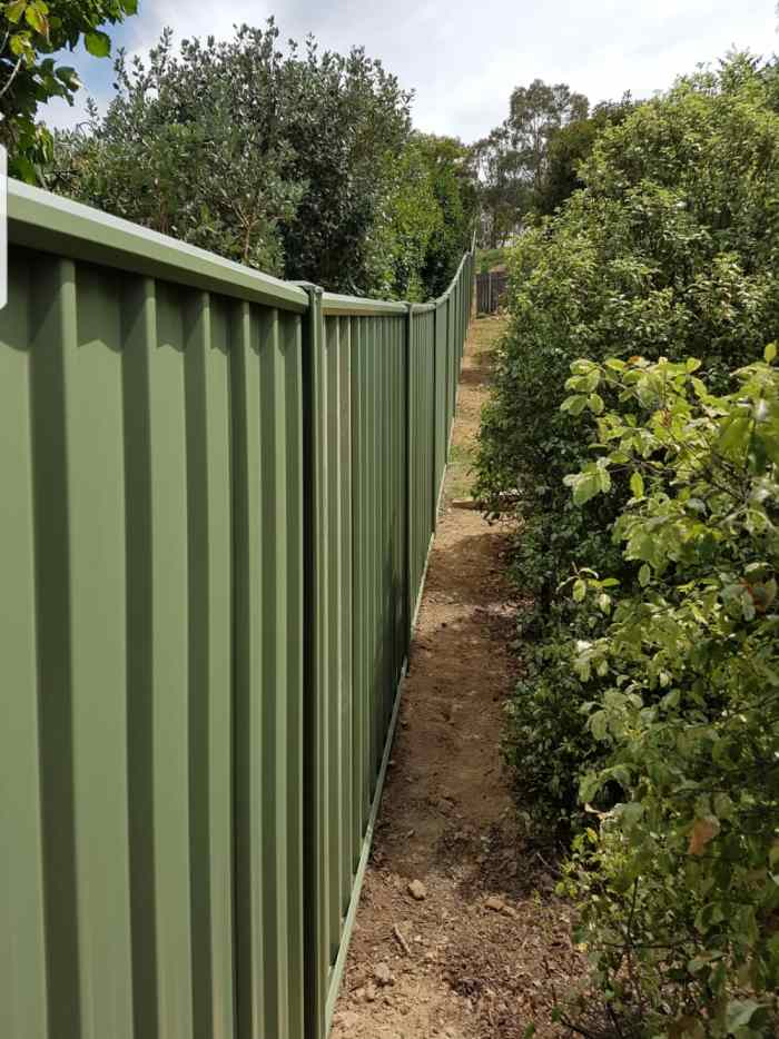 Raked colorbond fence 1